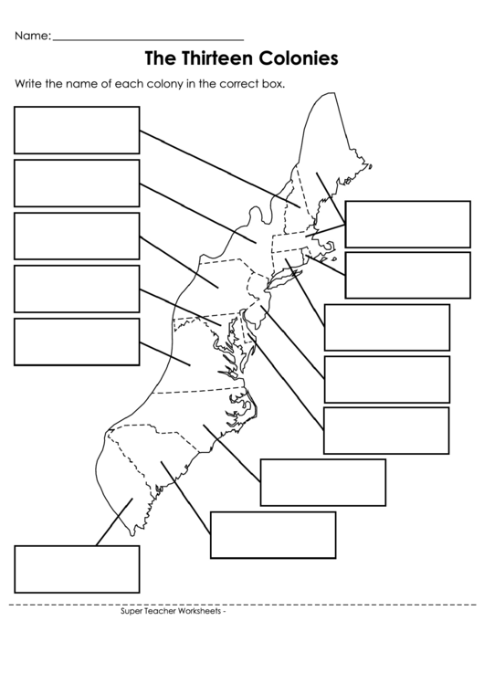 The Thirteen Colonies printable pdf download