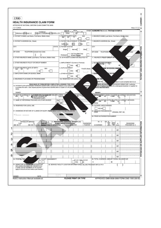Health Insurance Claim Form Universal printable pdf download