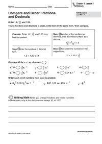 Compare And Order Fractions And Decimals Worksheet ...