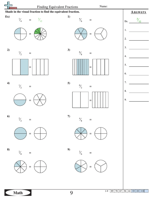 Finding Equivalent Fractions Worksheet With Answer Key