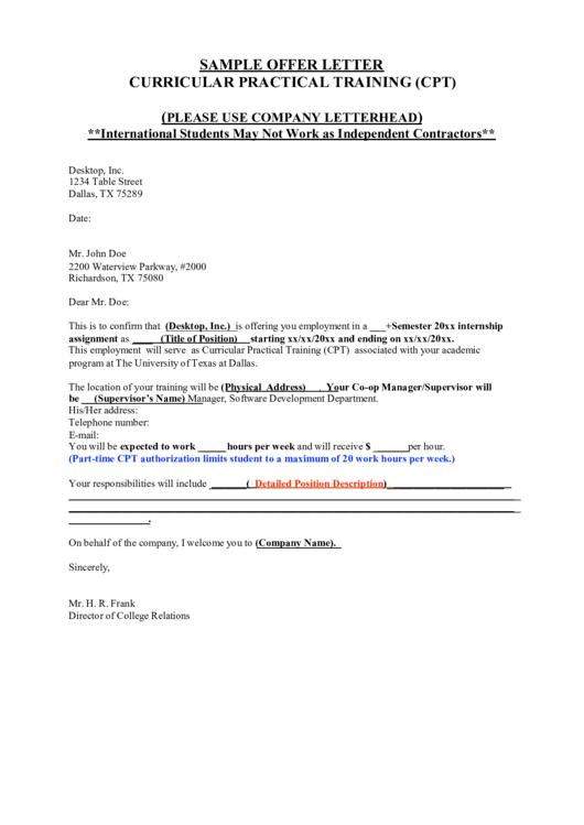 Sample Offer Letter Printable Pdf Download