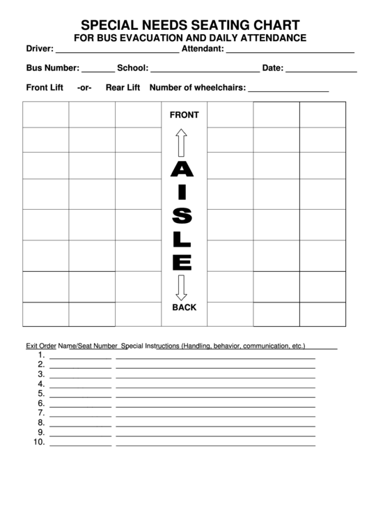 Special Needs Seating Chart For Bus Evacuation And Daily Attendance Printable Pdf Download