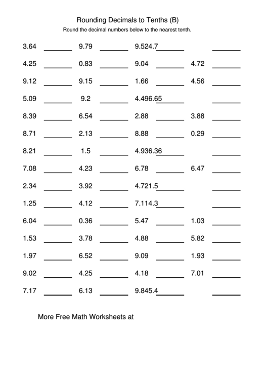 Rounding Decimals To Tenths (B) Worksheet printable pdf