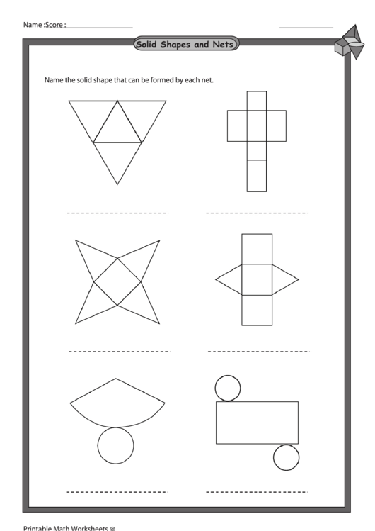 Solid Shapes And Nets Worksheet With Answer Key printable