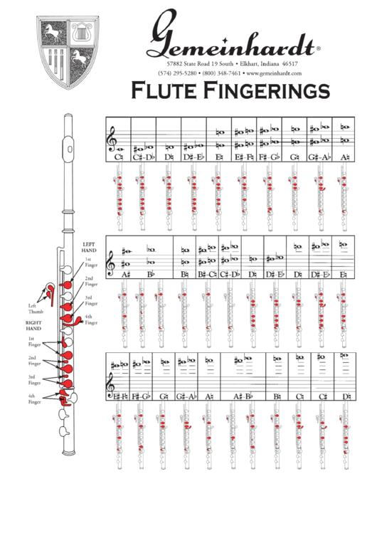 Flute Fingering Chart printable pdf download
