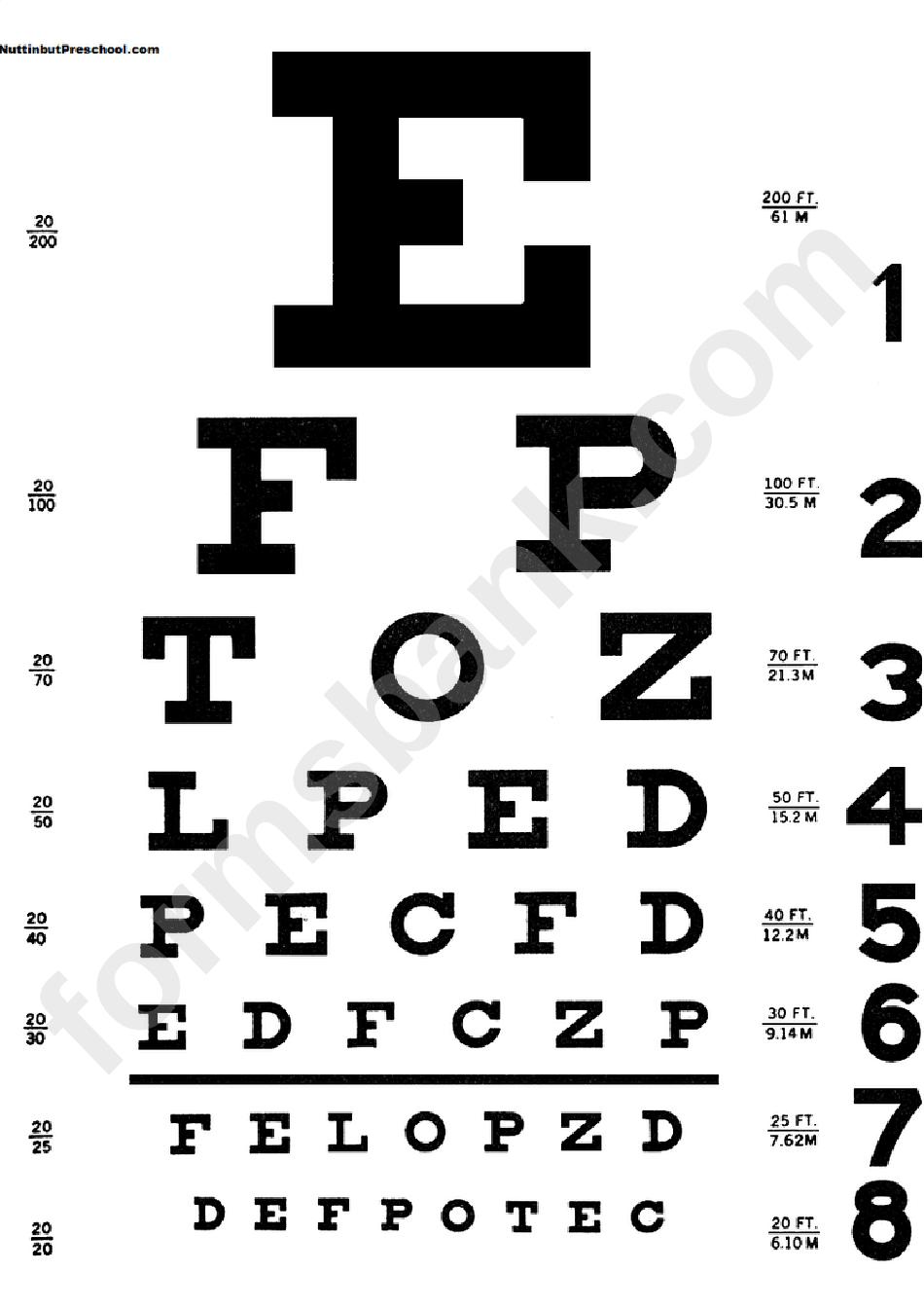 Eye Chart Template printable pdf download