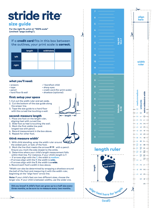Stride Rite Shoe Size Chart printable pdf download