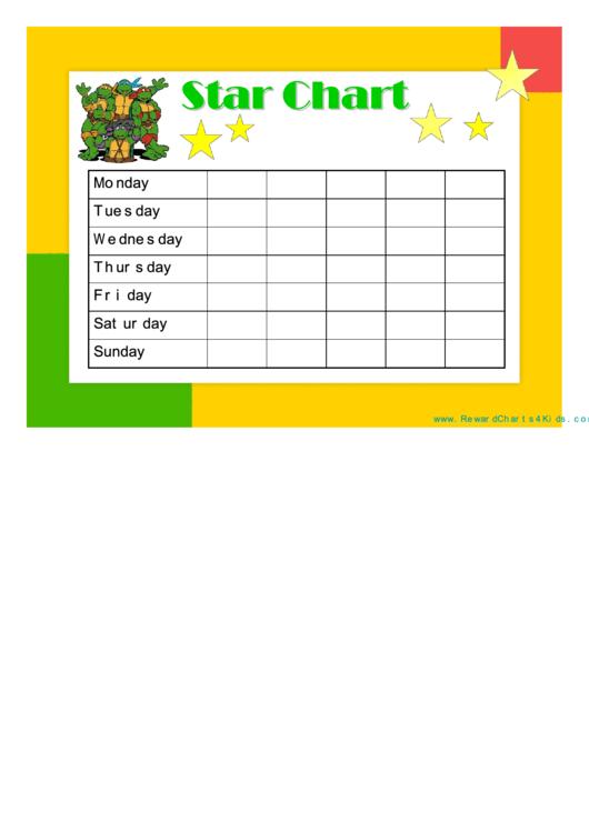 Star Reward Chart  Teenage Mutant Ninja Turtles printable