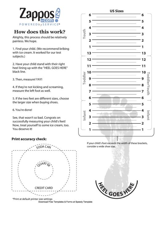 Zappos Kid Shoe Size Chart printable pdf download