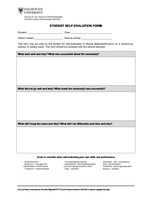 Top 18 Student Self Evaluation Form Templates free to download in ...