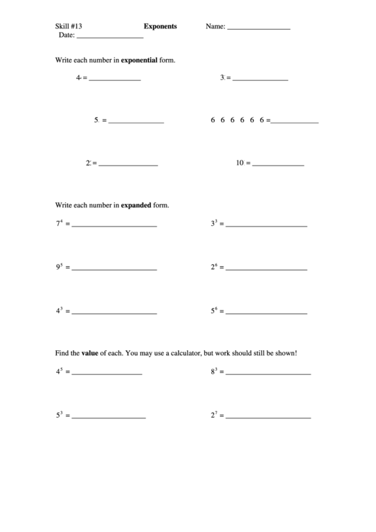 Exponents Worksheet printable pdf download