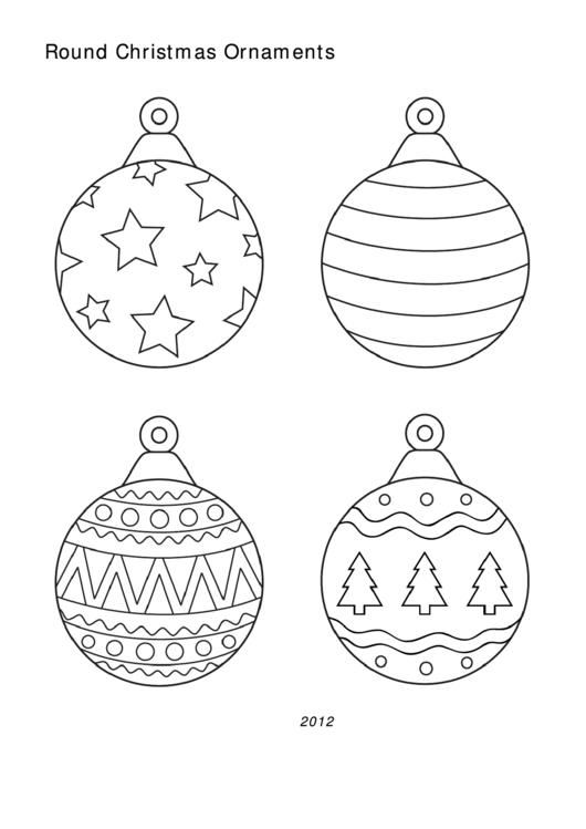 Round Christmas Ornament Templates printable pdf download