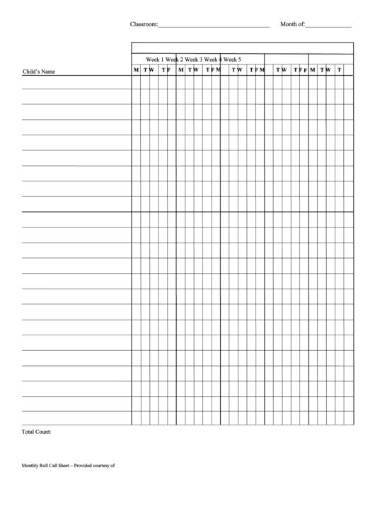 Monthly Classroom Attendance Sheet Template printable pdf