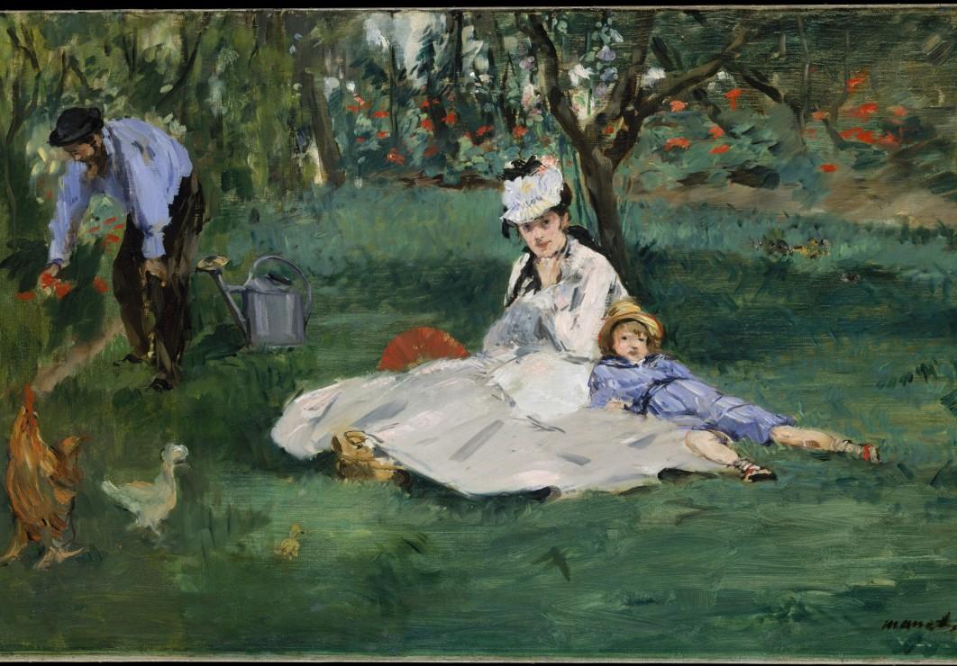 Edouard Manet  La Famille Monet dans leur Jardin