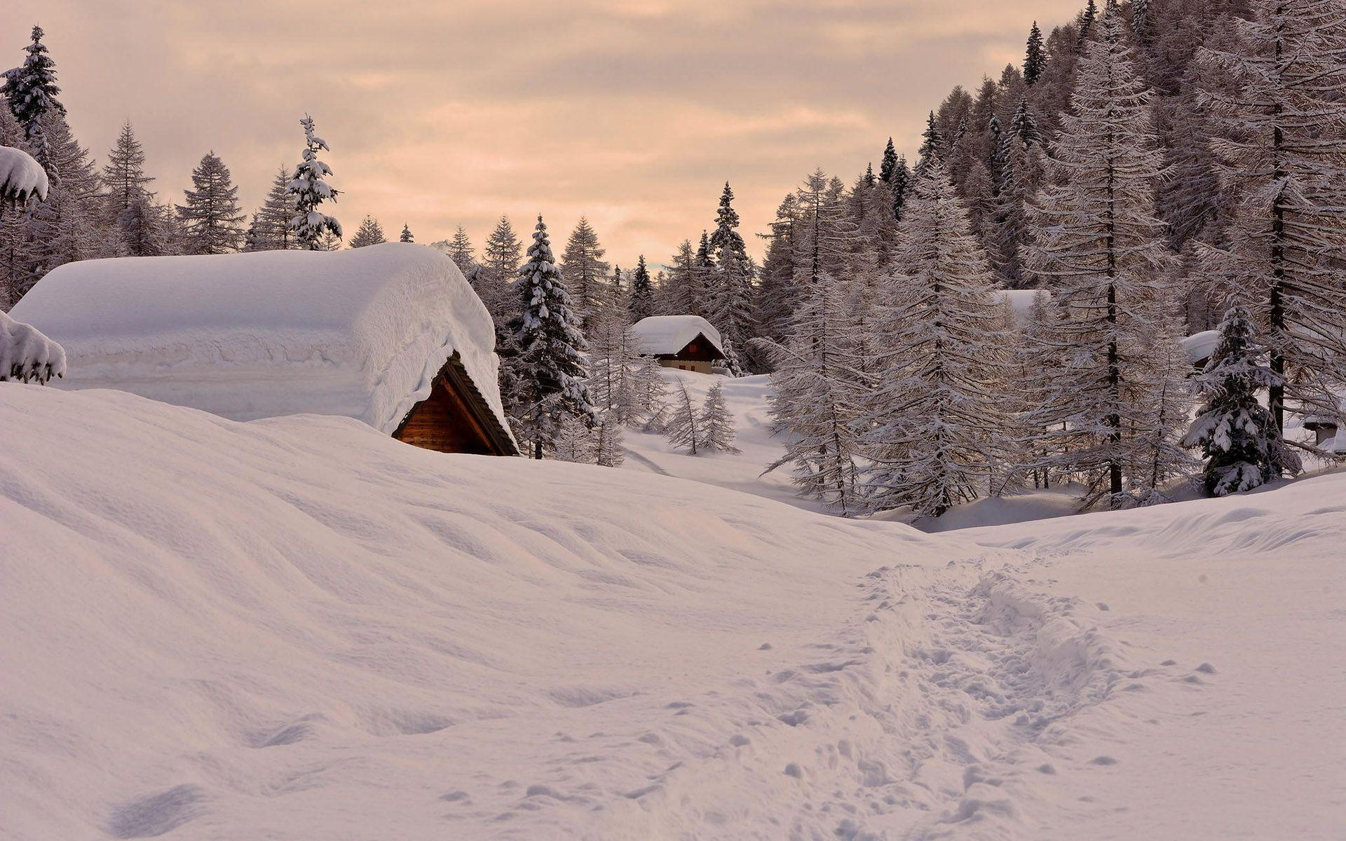 HD Cabin buried under the snow Wallpaper  Download Free
