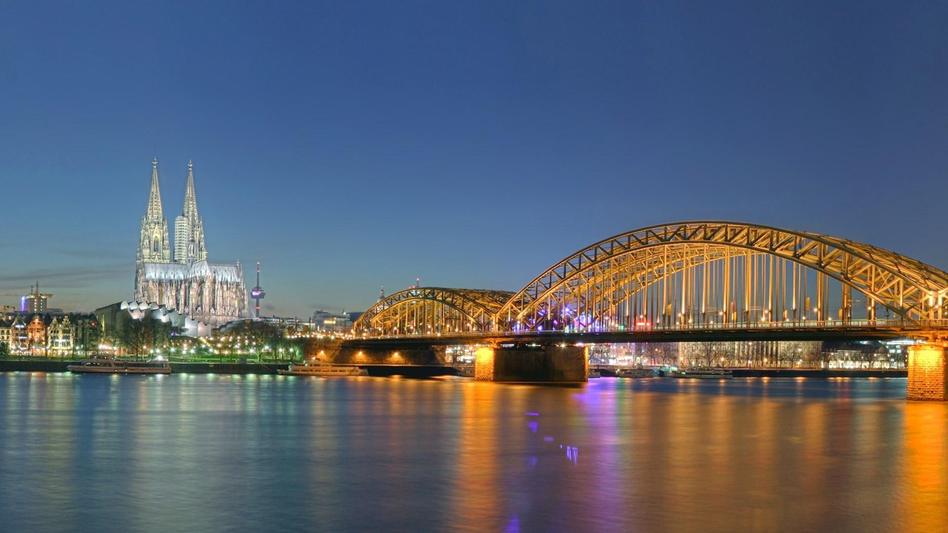 3d Moving Wallpapers City Lights Hd Cologne Germany City Night Lights Bridge Cathedral