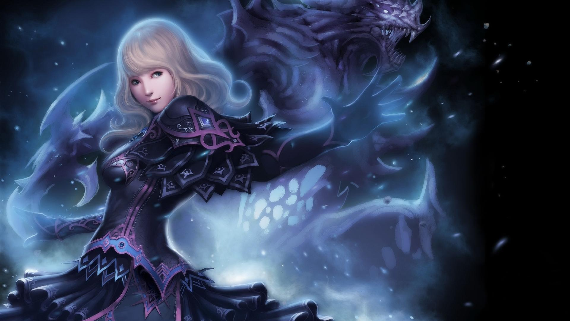 HD Drawing Blonde Warrior Anime Girls Monster Magic Wide
