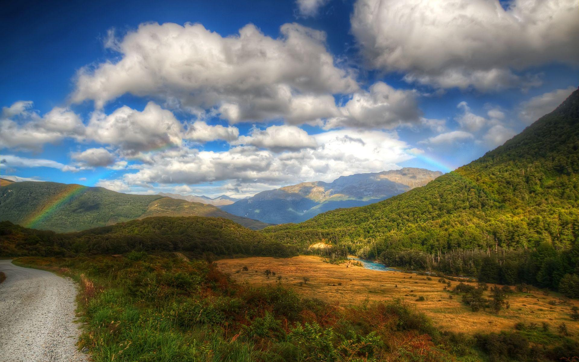 HD Fuffy white clouds above the river Wallpaper  Download