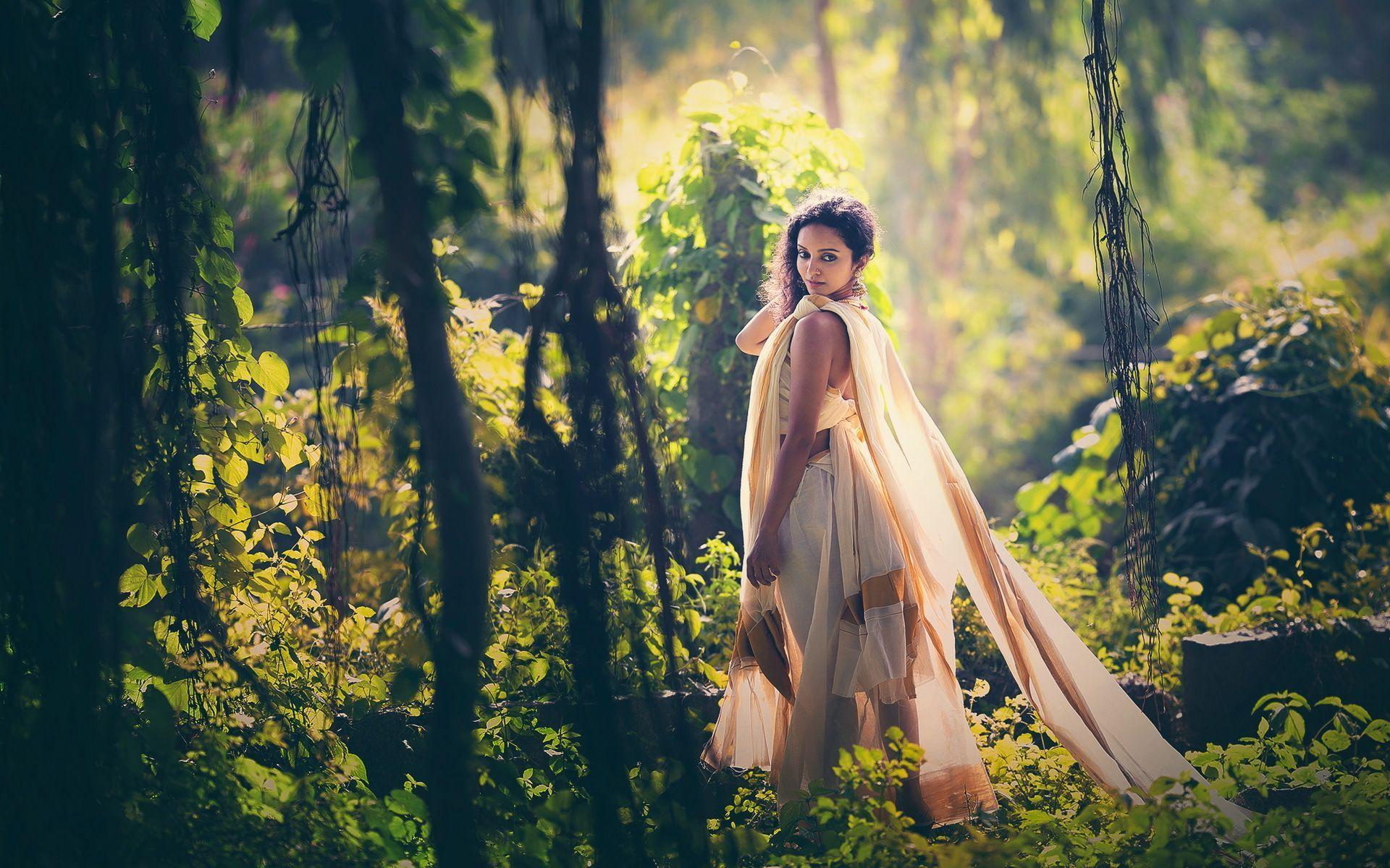 Indian Girl Wallpaper Full Hd Download Hd Indian Girl In The Forest Wallpaper Download Free