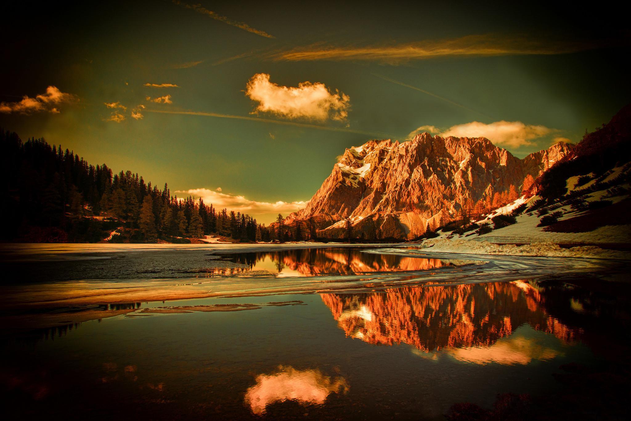 Cute Baby Dress Wallpaper Hd Mountains Forest Snow Water Lake Reflection Desktop