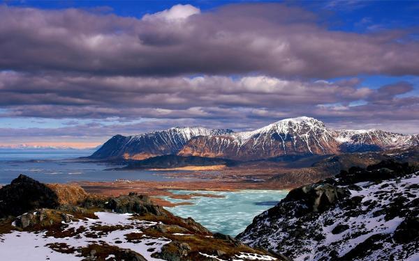 Hd Nature Landscapes Mountains Sky Clouds Shore Snow Winter Seasons Sea Ocean Wallpaper