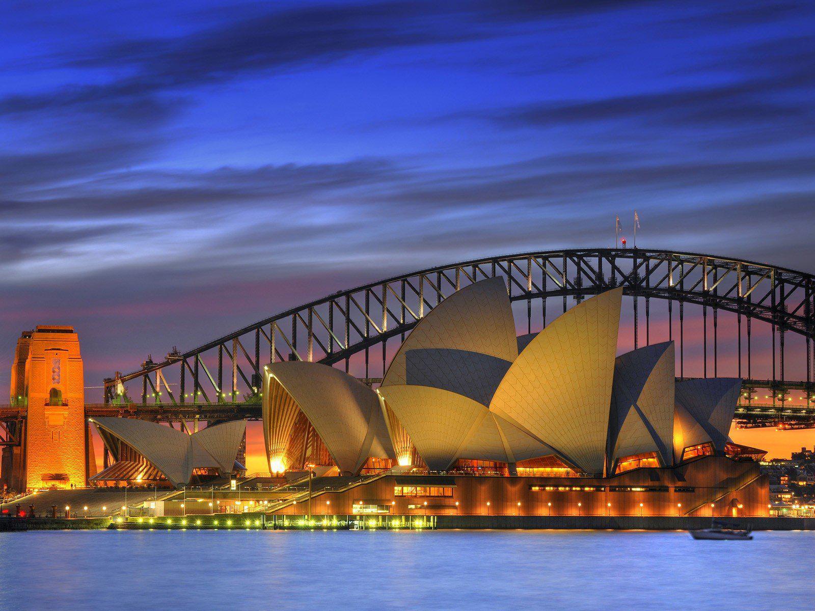 HD Night Opera House Australia Harbor Sydney Harbour