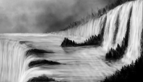 Hd River Forest Waterfall Art Painting Background
