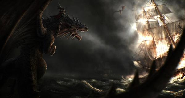 Hd Sea Ships Sailing Dragon Rider Smoke Dragons Fantasy Battle Wallpaper Free
