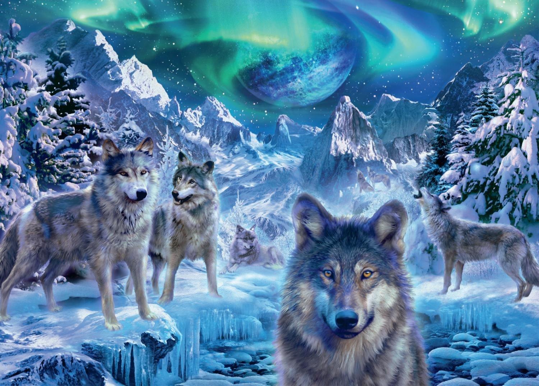 Cute Baby Polar Bear Wallpaper Puzzle Trevor Mitchell Wolves In Winter Jumbo 18329 500