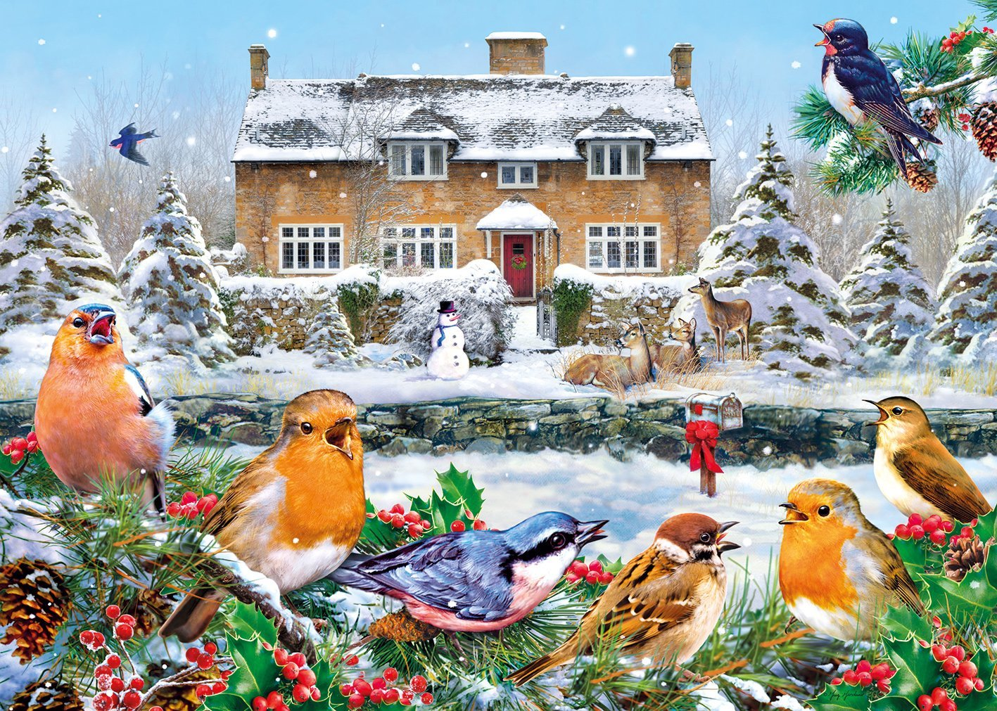 Puzzle Greg Giordano  A Winter Song GibsonsG6199 1000 pieces Jigsaw Puzzles  Cottages and