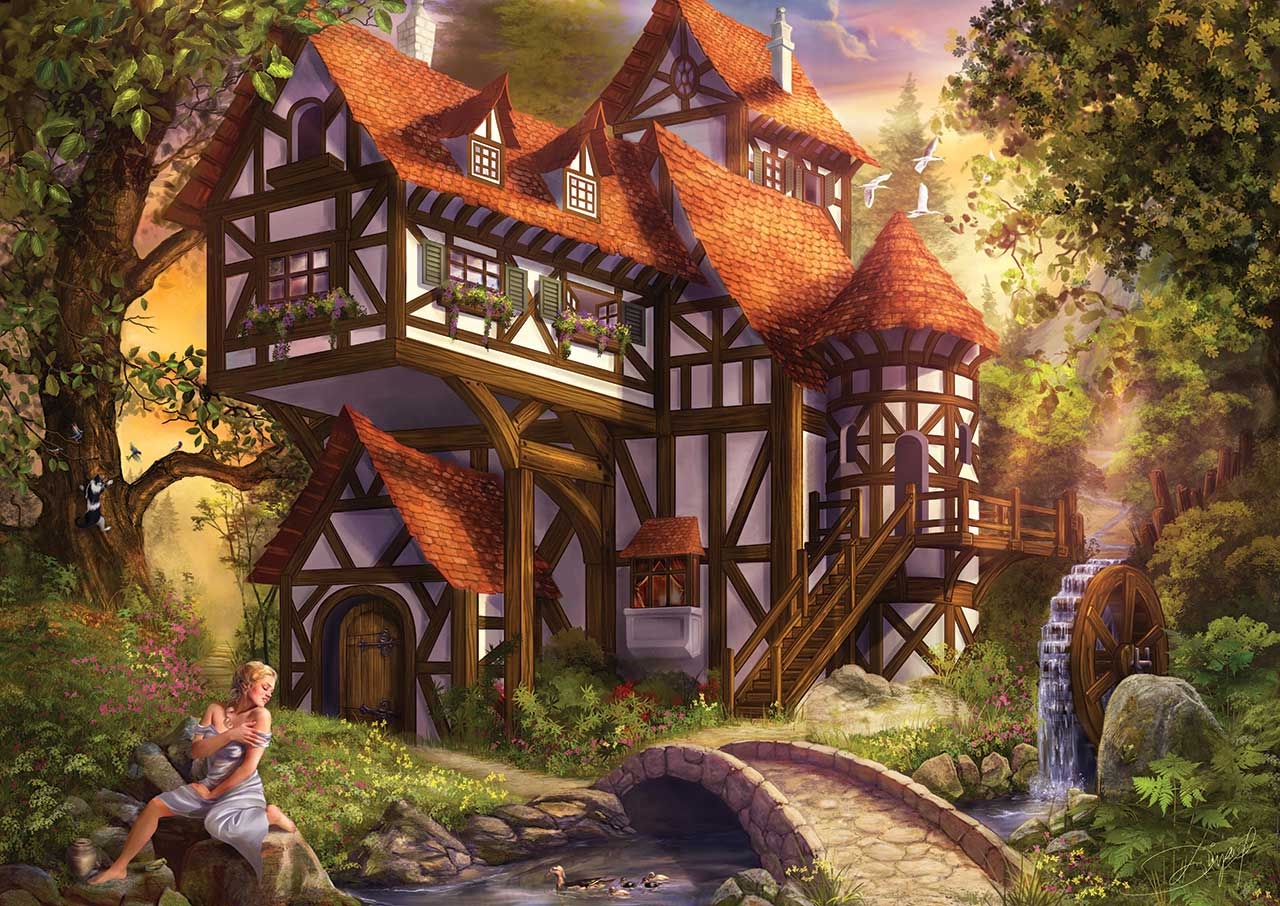 Fall Cottage Wallpaper Puzzle Drazenka Kimpel Watermill Ks Games 11387 1000