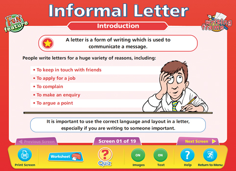 informal letter writing activities ks2
