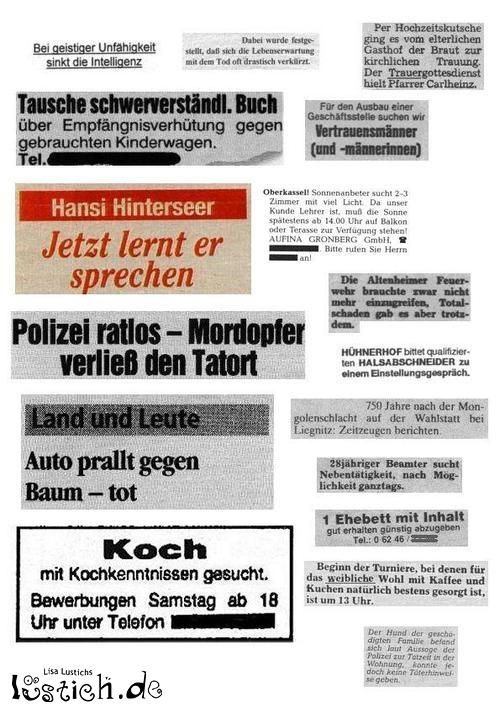 Lustige Zeitungsartikel Bild  lustichde