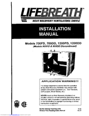 Lifebreath 900FD Manuals