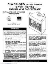 Monessen Hearth Natural Vent Gas Fireplace SBV400 Manuals