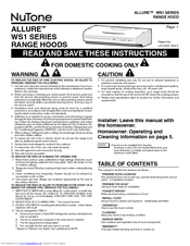 Nutone ALLURE WS1 SERIES Manuals