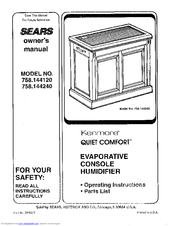 Sears Kenmore Quiet Comfort 758.144120 Manuals