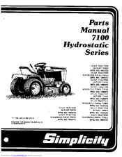 Simplicity 7100 Hydrostatic Series Manuals
