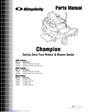Simplicity Champion Manuals