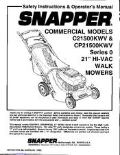 Snapper CP21500KWV Manuals