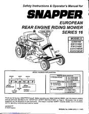 Snapper E250186B Manuals
