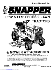 Snapper LT16 Manuals