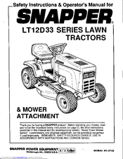 Snapper LT12D 33 Manuals