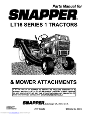 Snapper LT16 Series 1 Manuals