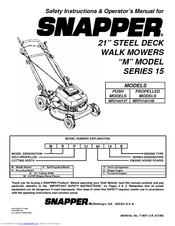 Snapper MR216015B Manuals