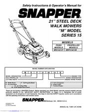 Snapper MR216015B Manuals