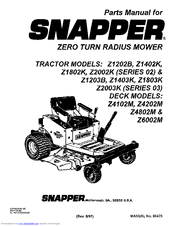 Snapper Z2003K (Series 03) Manuals