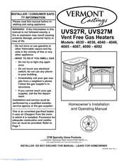 Vermont Castings UVS27R Manuals