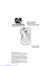Audiovox FR-230 Owner's Manual (14 pages)