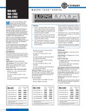 Crown Macro-Tech MA-2402 Manuals